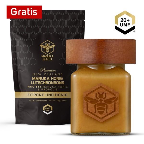 100% Purer Manuka Honig UMF 20 + Gratis Manuka Honig Bonbons UMF 15+